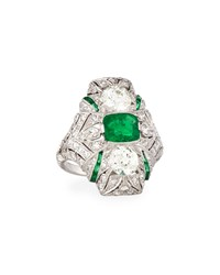 Nm Estate Jewelry Collection Estate Art Deco Diamond And Emerald Ring