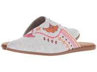Toms Jutti Mule Drizzle Grey Slub Chambray Embroidery Slip On Shoes Gray