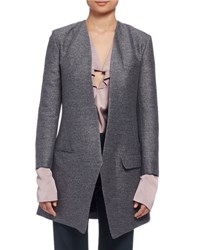 Lanvin Long Heathered One Button Jacket Gray Gris