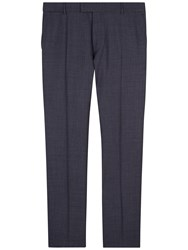 Jaeger Broken Grid Regular Fit Suit Trousers Blue