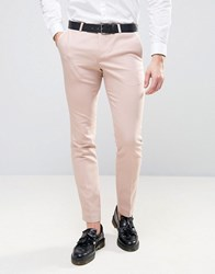 Noose And Monkey Super Skinny Trousers With Piping Pale Pink