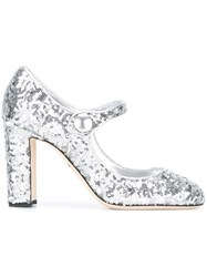 Dolce And Gabbana Vally Mary Jane Pumps Grey