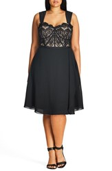 City Chic Plus Size Women's 'Eyelash Evie' Lace And Chiffon Cocktail Dress