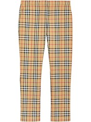 Burberry Vintage Check Wool Cigarette Trousers Yellow And Orange