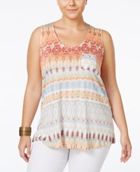 American Rag Plus Size Printed Tank Top Only At Macy's Living Coral Combo