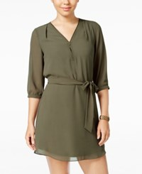 Amy Byer Bcx Juniors' Zip Front Belted A Line Dress Olive