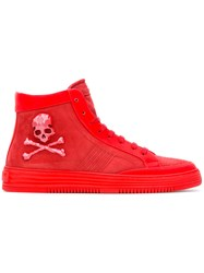 Philipp Plein Skull And Crossbones Hi Top Sneakers Red