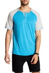 Burnside Colorblock Henley Tee Blue