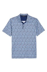 Bugatchi Classic Fit Abstract Brick Layout Polo Turquoise