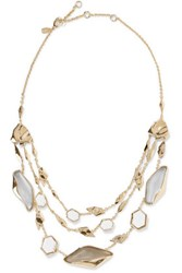 Alexis Bittar Gold Tone Stone Necklace Gray