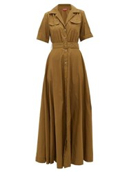 Staud Millie Belted Recycled Shell Maxi Shirtdress Khaki