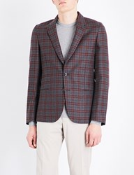 Paul Smith Checked Soho Fit Wool Jacket Burgundy