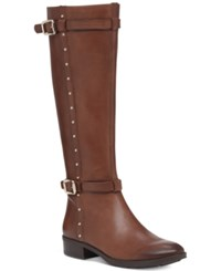 Vince Camuto Preslen Studded Riding Boots Women's Shoes Wynwood Brown