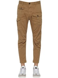 Dsquared 16Cm Boxer Cotton Canvas Cargo Pants Beige