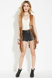 Forever 21 Fringed Faux Suede Vest Brown