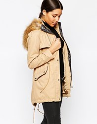 Lipsy Classic Parka With Faux Fur Hood Camel