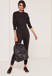 Missguided Loop Back Long Sleeve Jumpsuit Black