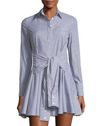 Romeo And Juliet Couture Long Sleeve Striped Shirtdress Black White