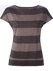 Eleventy Striped T Shirt Brown