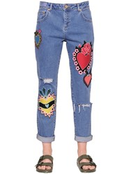 House Of Holland Patch Embroidered Cotton Denim Jeans
