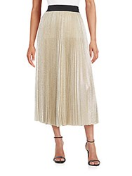 Abs By Allen Schwartz Pleated Metallic Chiffon Maxi Skirt Silver