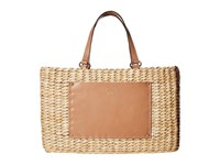 Frances Valentine Woven Pocket Medium Tote Natural Natural Tote Handbags Neutral