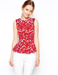 Closet Peplum Top In Damasque Print Redwhite