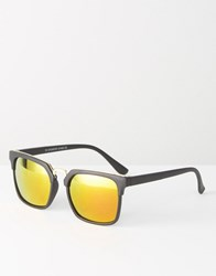 7X Square Sunglasses With Mirror Lens Gold Black