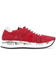 Premiata Conny Sneakers Women Cotton Leather Rubber 38 Red