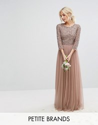 Maya Petite 3 4 Sleeve Maxi Dress With Delicate Sequin And Tulle Skirt Mink Pink