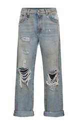 R 13 R13 Catherine Distressed Knee Boyfriend Jeans Light Wash