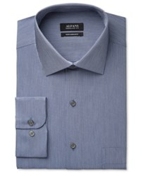 Alfani Men's Classic Fit Performance Indigo Blue Hairline Stripe Dress Shirt Only At Macy's