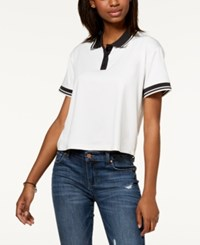 Almost Famous Juniors' Striped Contrast Polo White
