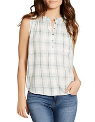 Jessica Simpson Anaya Sleeveless Plaid Cotton Top Lichen
