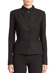 Carolina Herrera Icon Collection Molded Neck Five Button Jacket Black