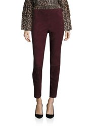 Saks Fifth Avenue Suede Leggings Burgundy Olive