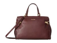 Calvin Klein Pinnacle Pebble Leather Satchel Rum Raisin Satchel Handbags Burgundy