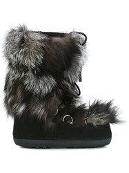 Dsquared2 Fur Trim Snow Boots Black