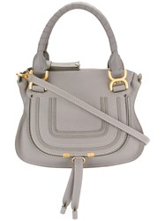 Chloe Hana Tote Cotton Calf Leather Grey