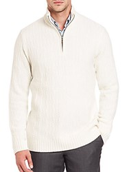 Saks Fifth Avenue Cashmere Half Zip Sweater White