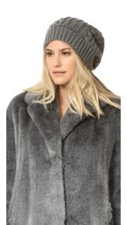 Adrienne Landau Cable Knit Slouch Hat With Fur Pom Grey