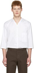 Christophe Lemaire White V Neck Shirt