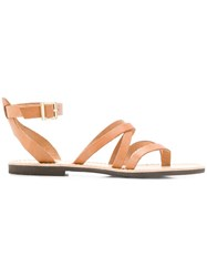 P.A.R.O.S.H. Crossover Strap Sandals Brown