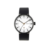 Bravur Watches Black With White Face And Black Strap Gold Black