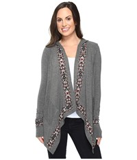 Stetson Rayon Jersey Hooded Cardigan Grey Women's Sweater Gray
