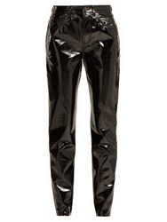 Saint Laurent High Rise Pvc Trousers Black