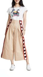 Stella Jean Check Side Stripe Wide Leg Pants Khaki