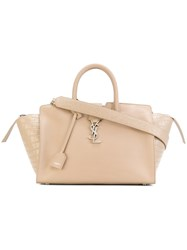 Saint Laurent Small Monogram Downtown Cabas Tote Bag Women Calf Leather One Size Nude Neutrals