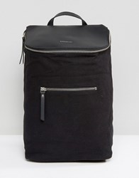 Sandqvist Mika Cotton Canvas And Leather Backpack Black