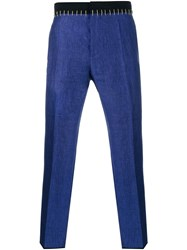 Haider Ackermann Linen Pants With Gold Stitching Blue